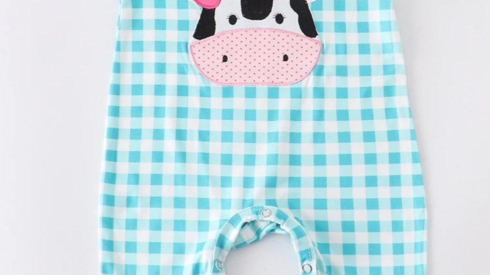 Cow Applique Baby Girl Romper