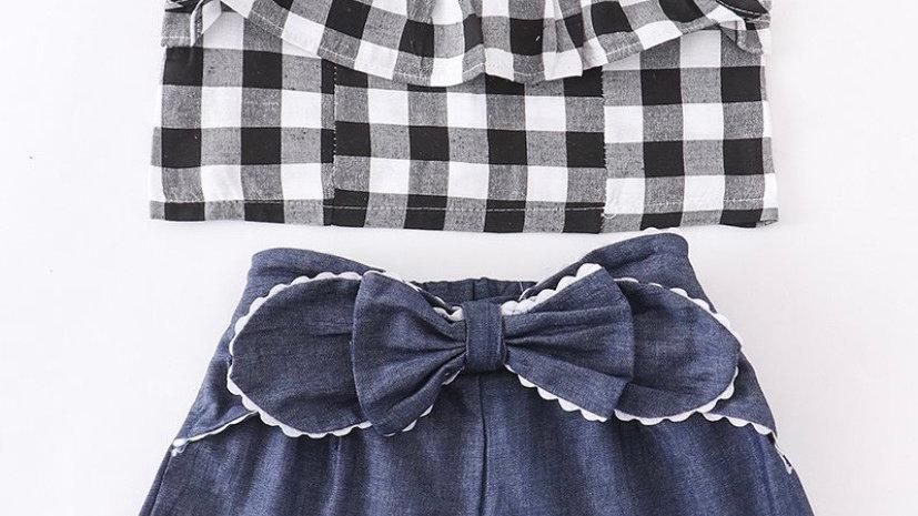 Plaid Denim Shorts Set