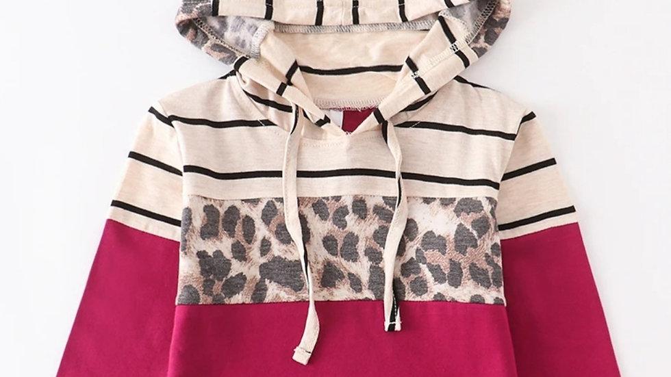 Maroon Leopard Stripe Hoodie