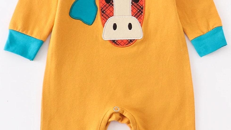 Mustard Cow Applique Baby Romper