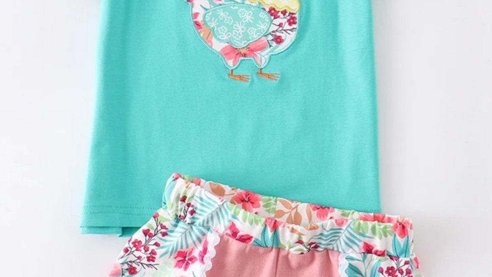 Hen Applique Floral Short Set