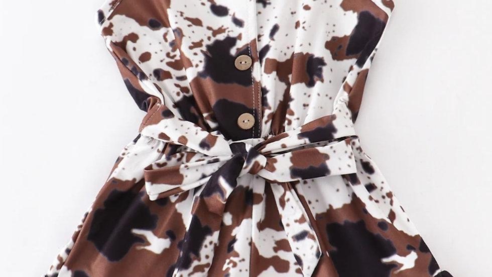 Cow Pattern Ruffle Jumpsuit