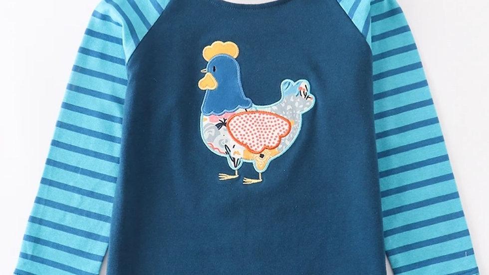 Teal Hen Applique Unisex Raglan Shirt