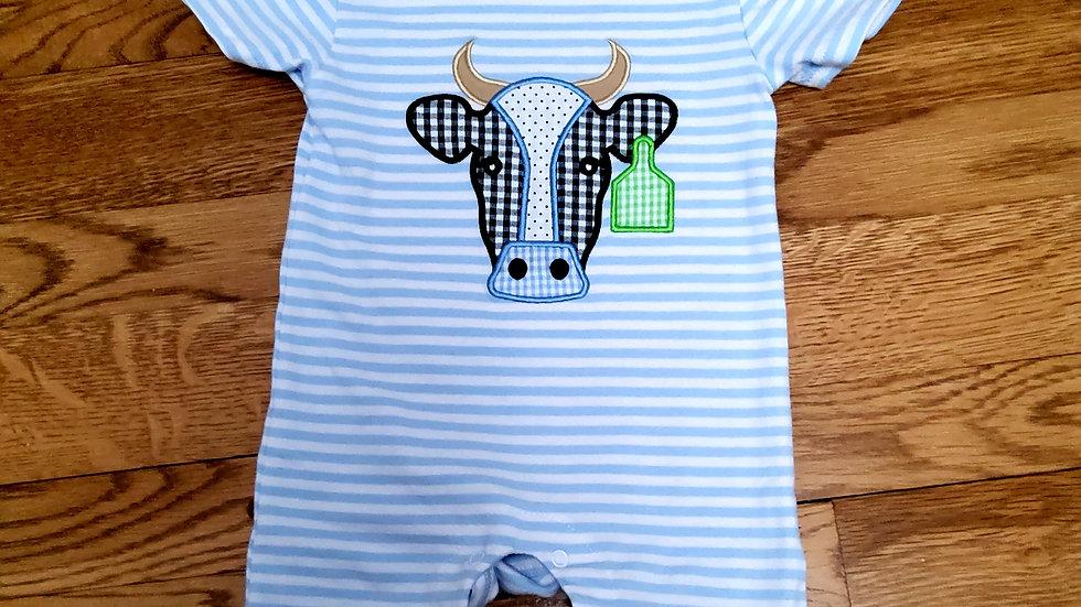 Blue Cow Applique Baby Romper