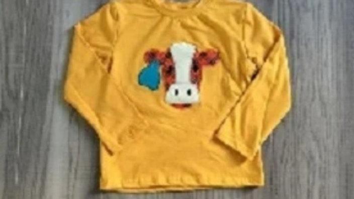 Cow Applique Mustard Shirt