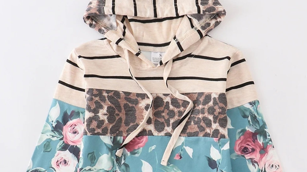 Mommy & Me Adult Green Floral Leopard Hoodie