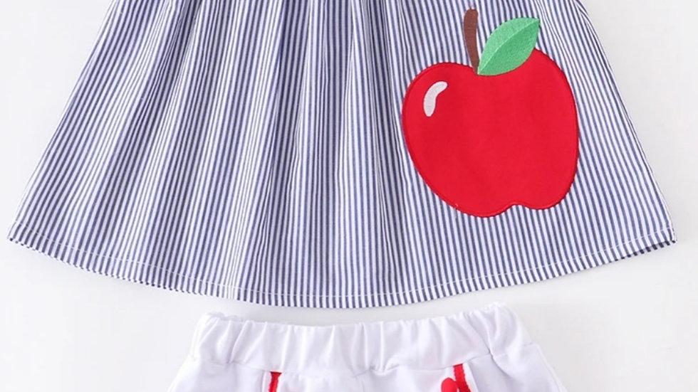 Apple Pom Pom Flutter Top with Short Set