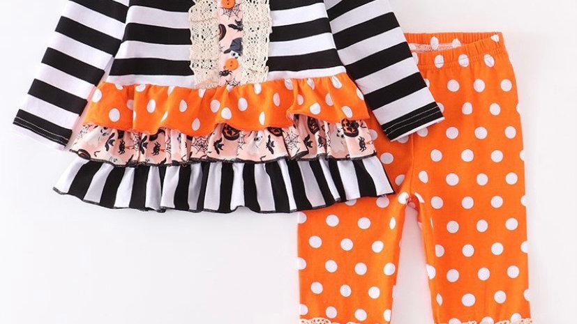Orange Polka Dot Lace Stripe Pants Set