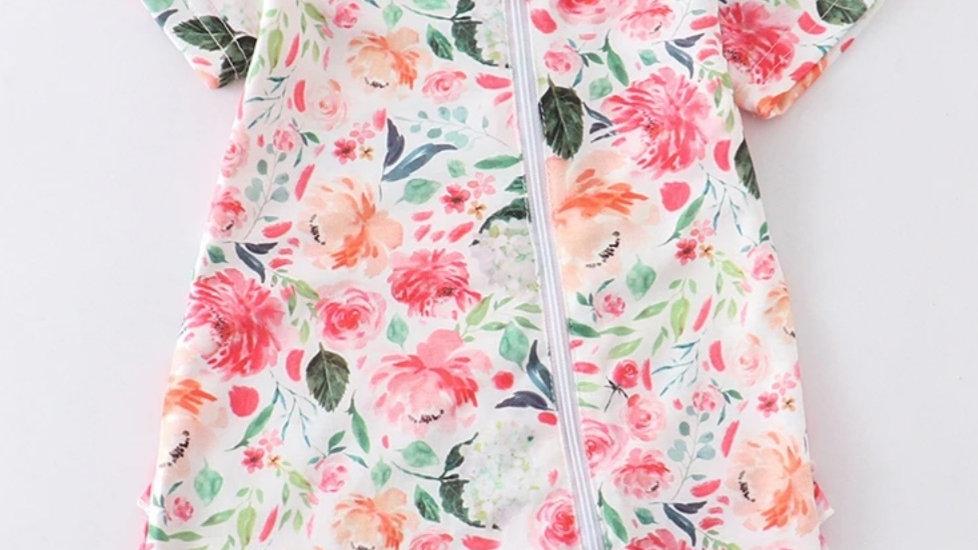 Pink Floral Baby Romper
