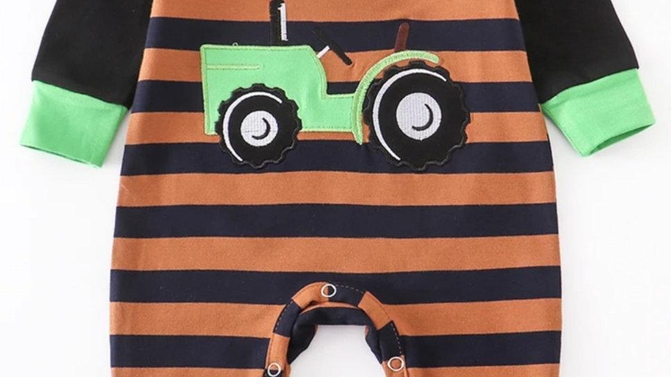Tractor Applique Stripe Baby Romper