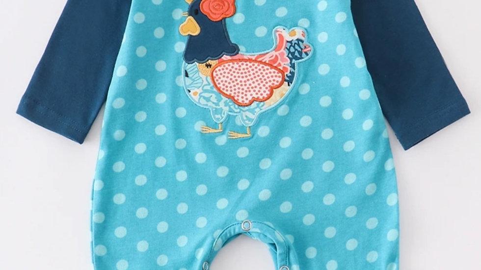 Teal Hen Applique Ruffle Baby Romper