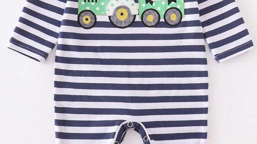 Stripe Tractor Applique Ruffle Baby Romper