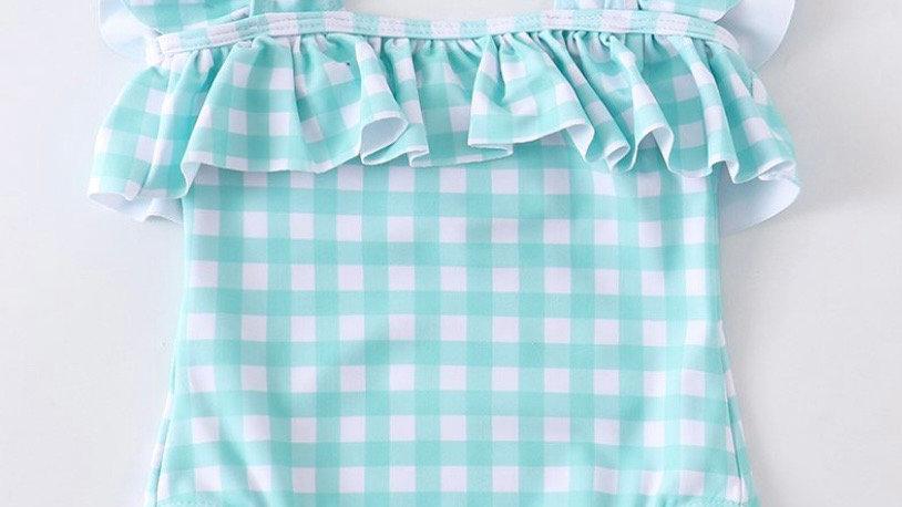 Mint Plaid Girls Swimsuit