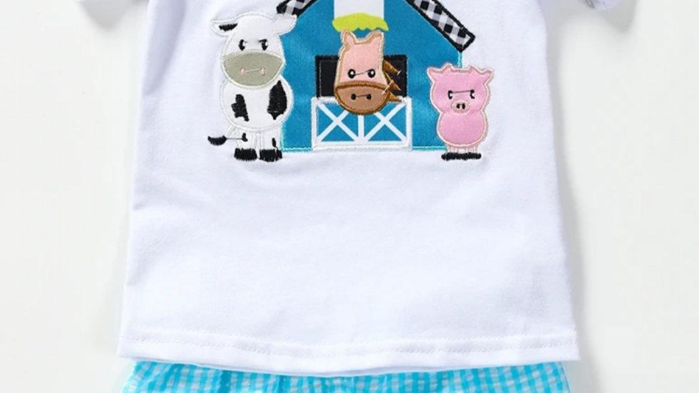 Farm Animal Applique Shorts Set