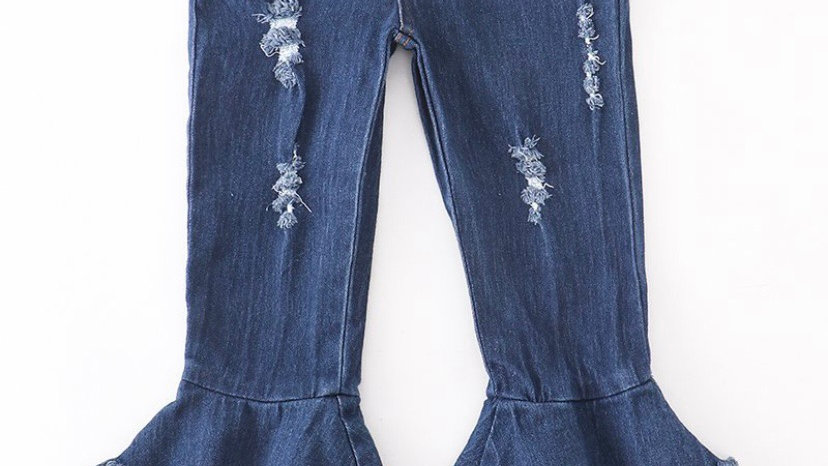 Blue Washed Double Layered Bell Jean