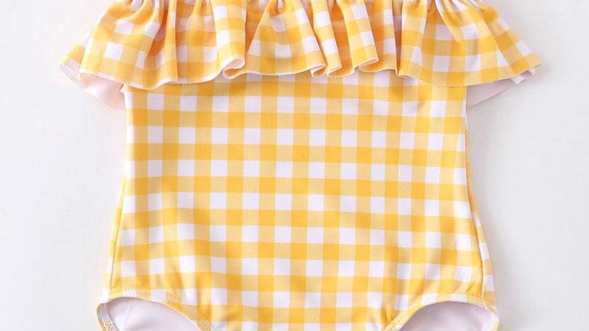 Yellow Plaid Ruffle Swimsuit