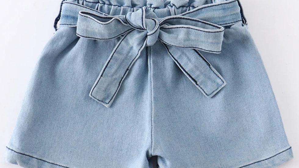 Light Wash Denim Shorts with Belt