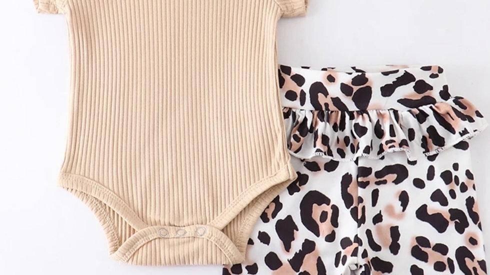 3 Piece Beige Leopard Baby Romper