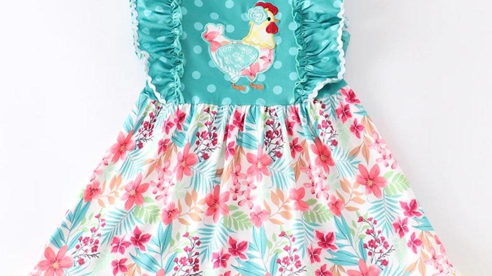 Hen Floral Flutter Dress