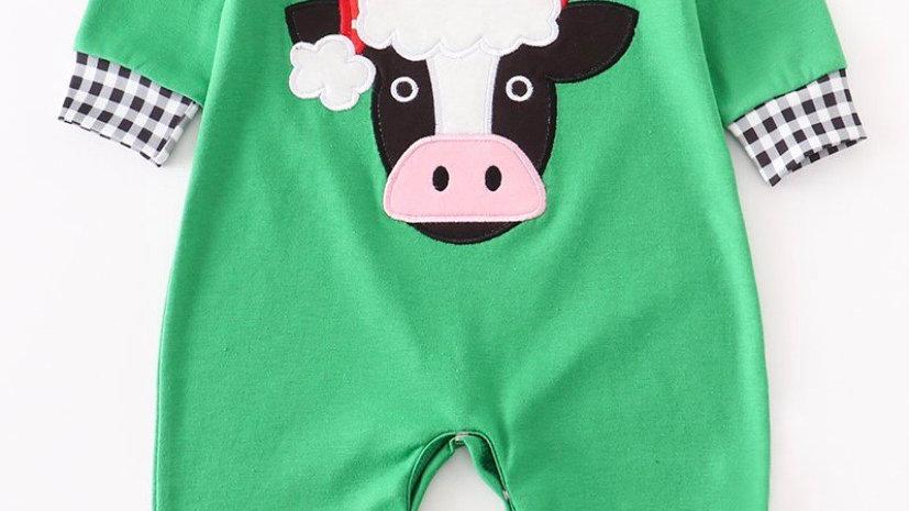 Green Santa Cow Romper