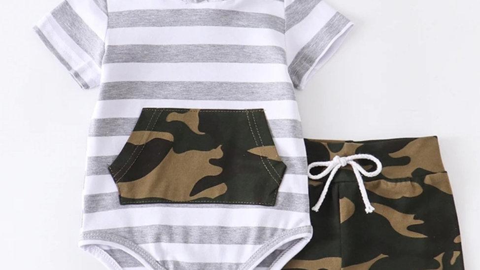 Stripe Camo Pants Baby Romper Set