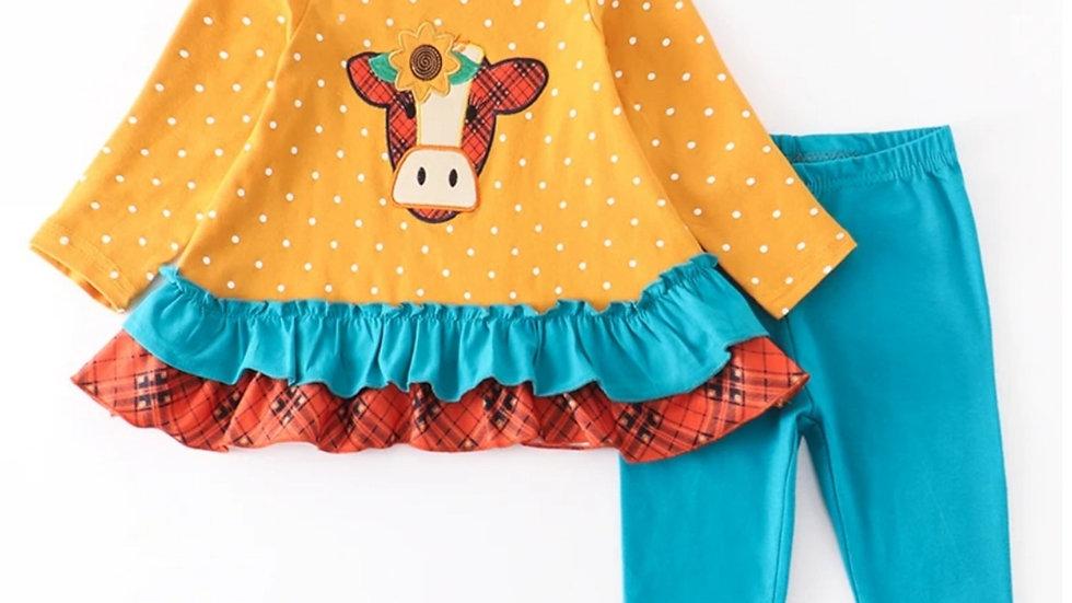 Mustard Cow Applique Ruffle Pant Set