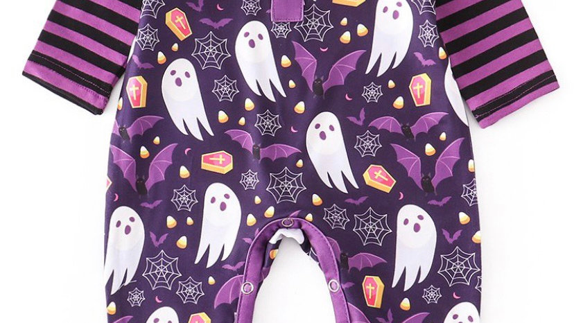 Purple Ghost Baby Romper