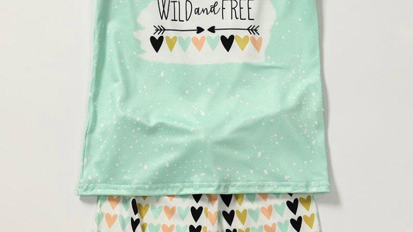 Wild & Free Mint Shorts Set