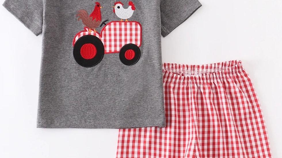 Chicken Farmer Applique Short Set
