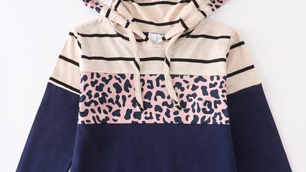 Navy Leopard Stripe Hoodie