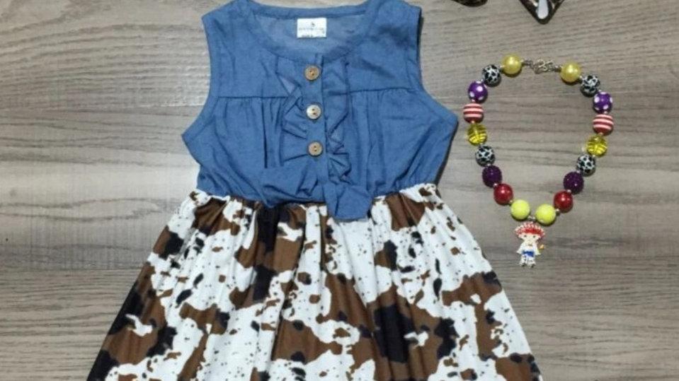 Denim Brown Cow Print Button Down Dress