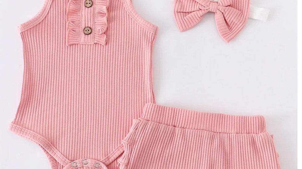 3 Piece Pink Ruffle Baby Romper