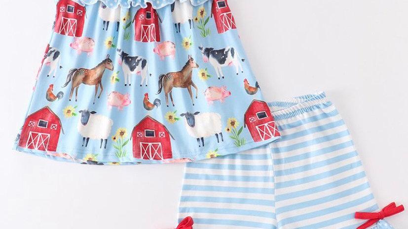 Blue Farm Animals Ruffle Shorts Set