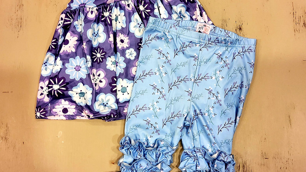 Purple Floral with Blue Ruffle Pant Set