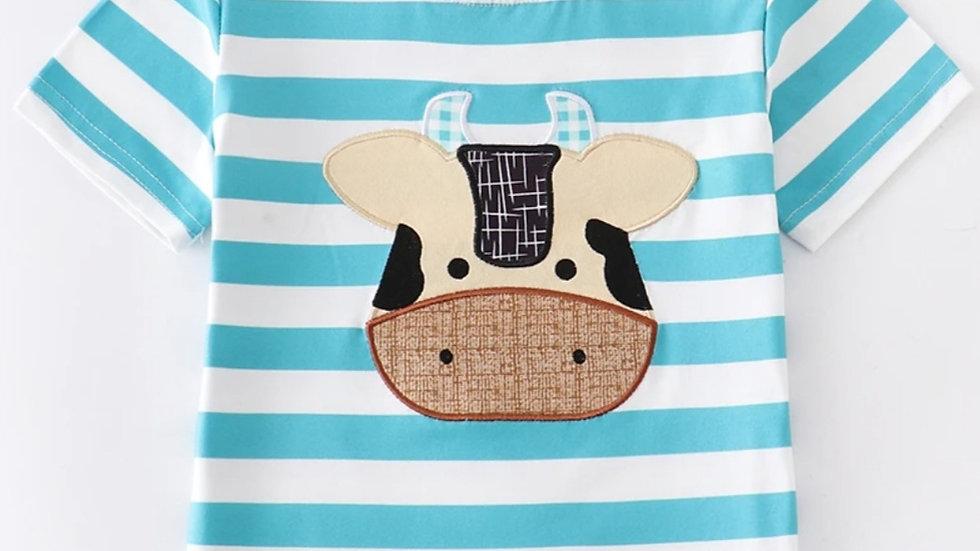 Cow Applique Stripe Boy Shirt