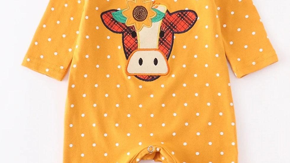 Mustard Cow Applique Baby Ruffle Romper
