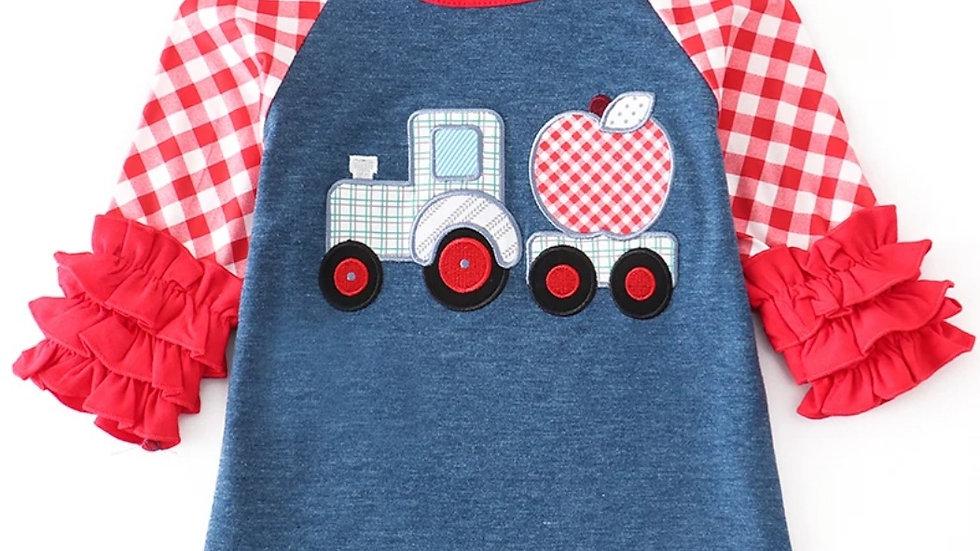 Apple Truck Applique Icing Plaid Shirt