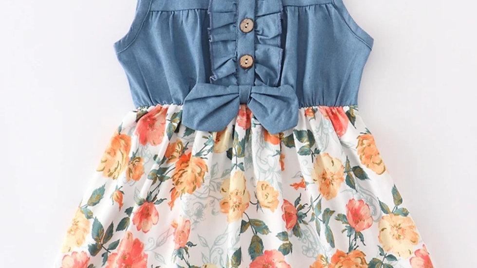 Denim Floral Button Down Dress