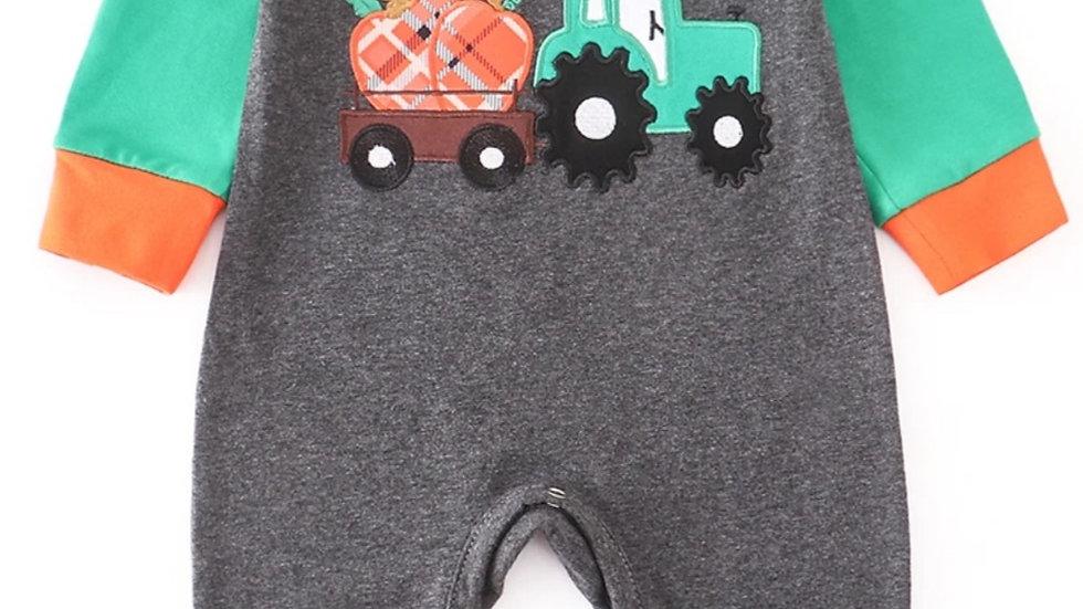Grey Pumpkin Haulin' Tractor Applique Baby Romper