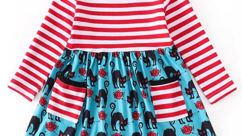 Red Stripe Scary Cat Pocket Dress