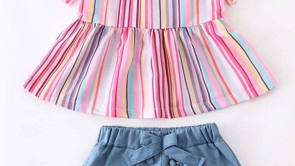Rainbow Stripe Pom Pom Short Set