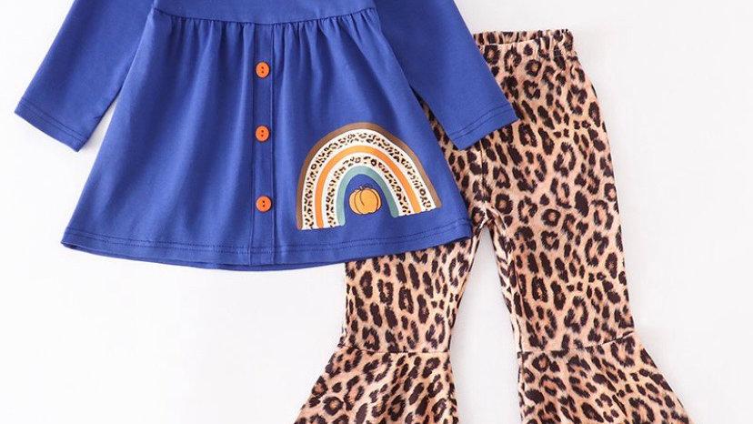 Blue Pumpkin Rainbow Leopard Bell Pants Set