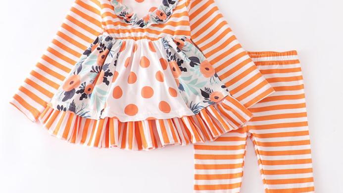 Orange Stripe Mint Floral Pants Set