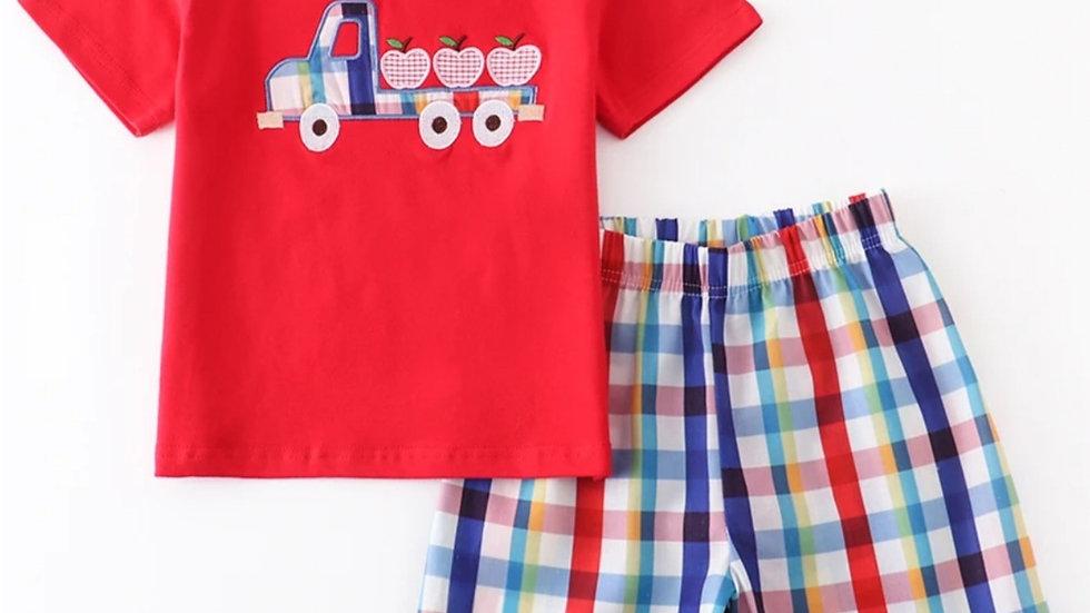Apple Truck Applique Boy Short Set