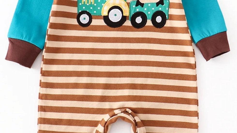 Tractor & Cow Applique Baby Romper