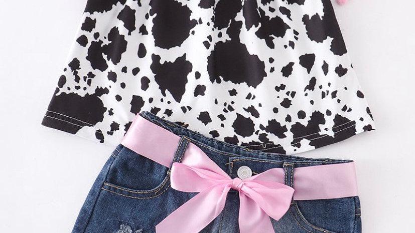 Cow Pattern Denim Shorts Set
