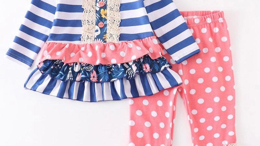 Pink Polka Dot Lace Stripe Pants Set