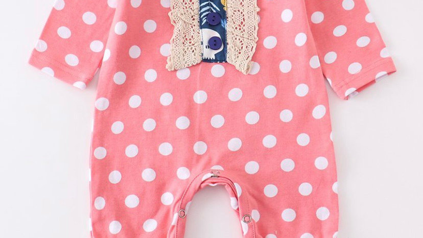 Pink Polka Dot Lace Baby Romper