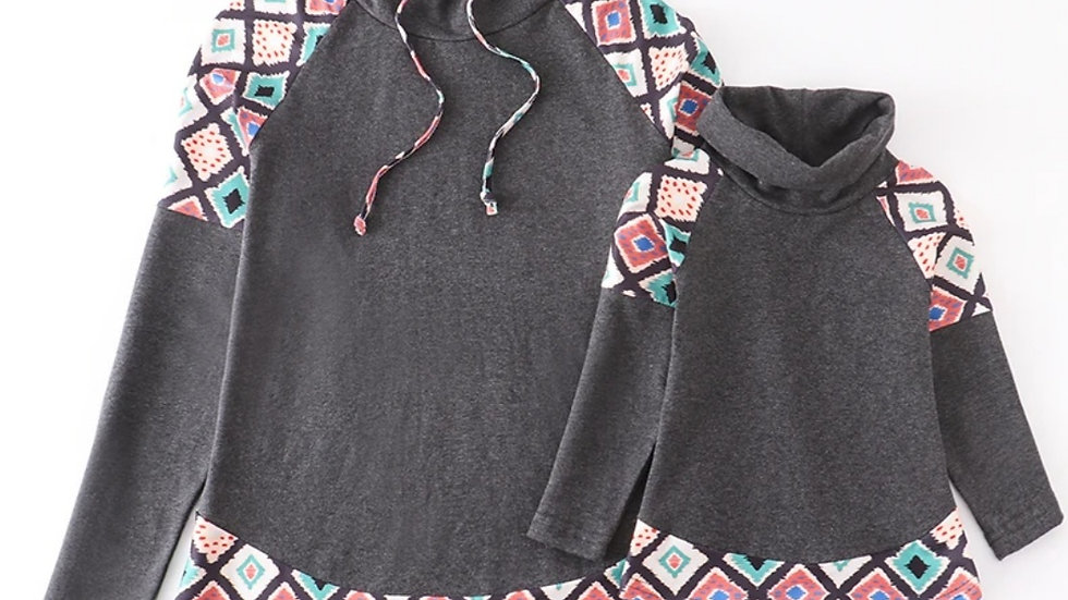 Youth Grey Motif Mommy & Me Pull Over
