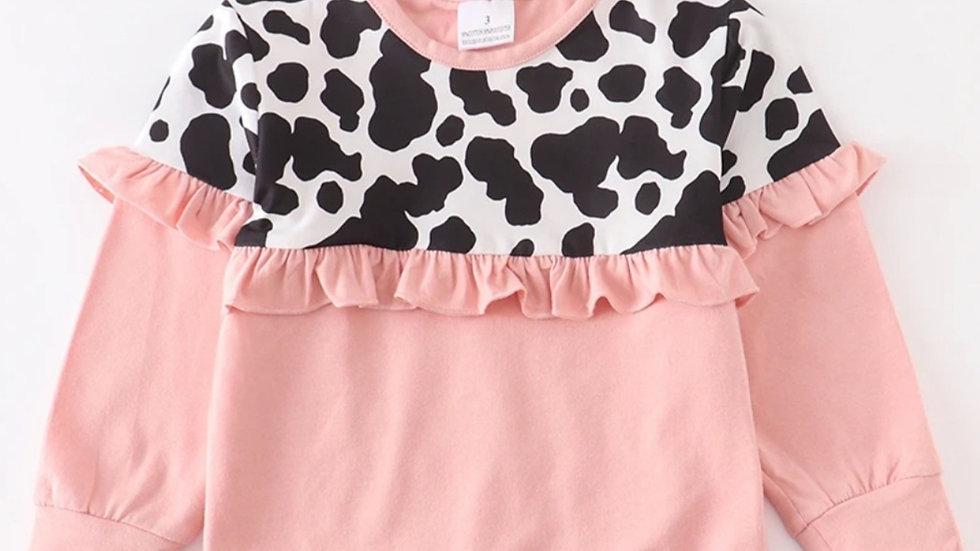 Blush Cow Print Ruffle Shirt